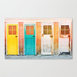 Colorful wooden doors with a vintage flare filter applied to the image Canvas Print