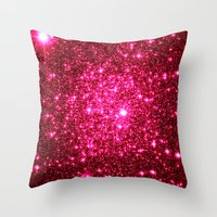 glitter Throw Pillows featuring Hot Pink Glitter Stars by 2sweet4words Designs