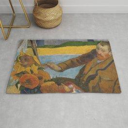 Vincent van Gogh painting sunflowers by Paul Gauguin Rug