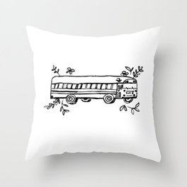School Bus Illustration Skoolie Tiny Home Van Life Throw Pillow