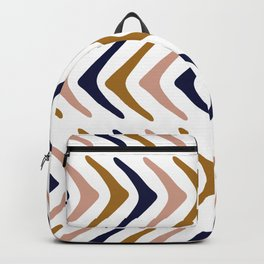 Navy, Pink and Mustard Herringbone Backpack