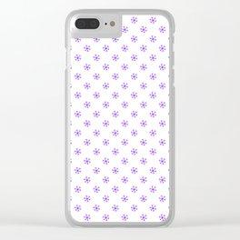 Indigo Violet on White Snowflakes Clear iPhone Case