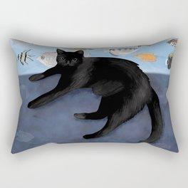 Ivy the Black Cat & The Fish Tank Rectangular Pillow