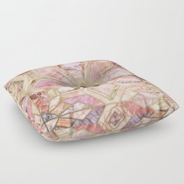 Geometric Gilded Stone Tiles in Blush Pink, Peach and Coral Floor Pillow