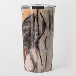 Mountain, woman, flowers Travel Mug