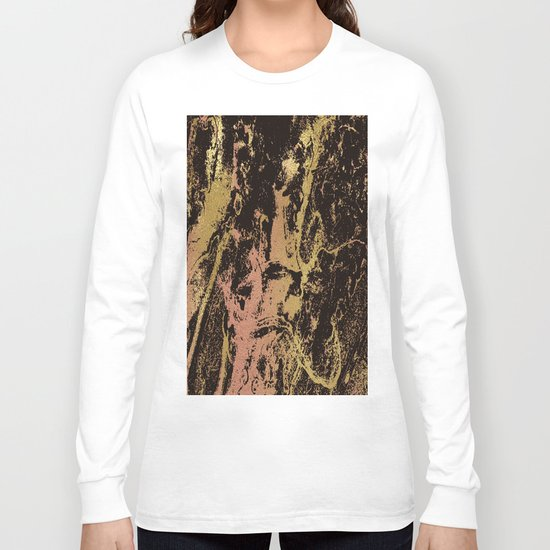 Rose gold & gold marbled Long Sleeve T-shirt