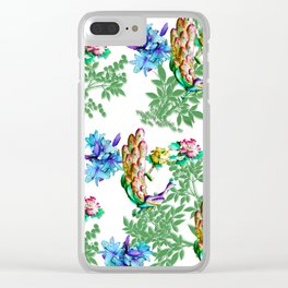 PEACOCK LILY ROSES TROPICAL BLOOM TOILE  PATTERN Clear iPhone Case