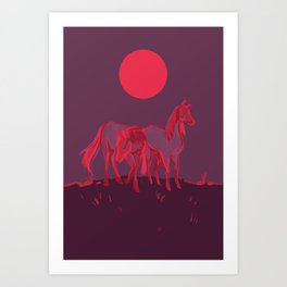 Supermoon Horses Art Print