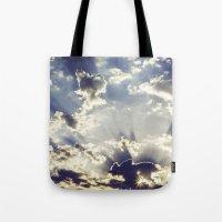 oslo Tote Bags featuring Oslo Sky  by Håkon Jørgensen