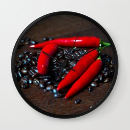 Hot Chilly and Coffee Beans Wall Clock