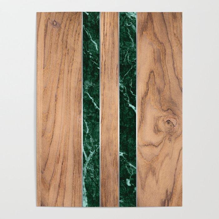 Wood Grain Stripes - Green Granite #901 Poster