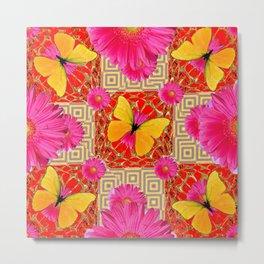 Red Art Design of Butterflies Fuchsia Gerbera Flower  Patterns Art Metal Print