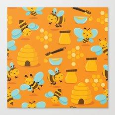 Cute Honey Bee Pattern Canvas Print