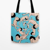 swimming Tote Bags featuring SWIMMING by RUEI