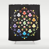 yoshi Shower Curtains featuring Yoshi Prism by Ashley Hay