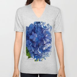 Blue Hydrangia Flower Blossom Unisex V-Neck