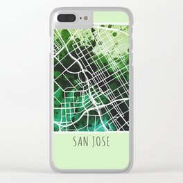 San Jose City Map / Green Clear iPhone Case