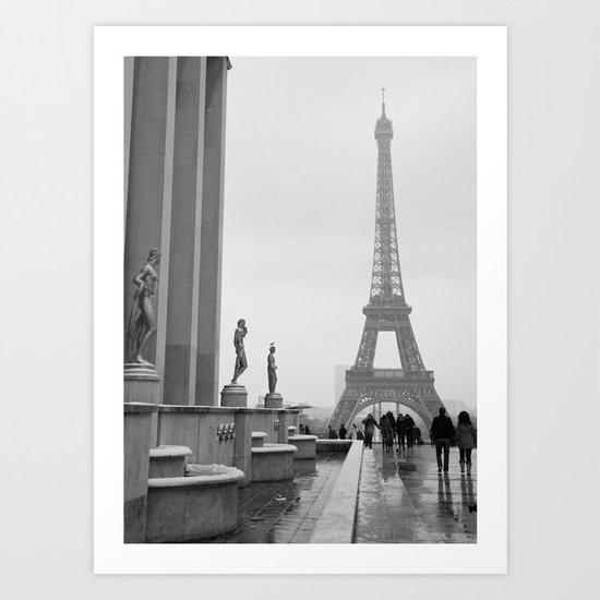 Eiffel Tower on a Snowy Day Art Print