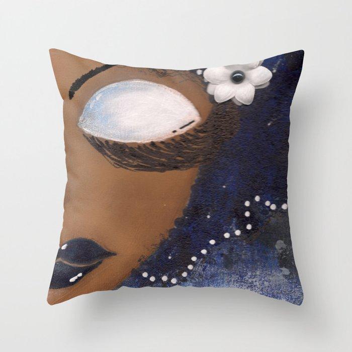 Blue and White Sassy Girl  Throw Pillow