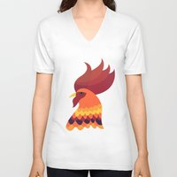 cock V-neck T-shirts featuring Cock by Volkan Dalyan