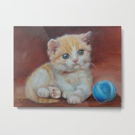 Little kitten playing with ball Cute red tabby cat portrait Oil painting on canvas Metal Print
