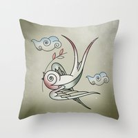 sparrow Throw Pillows featuring Sparrow by Vin Zzep