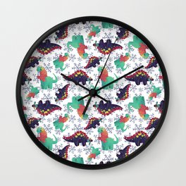 Winter Dinosaurs Wall Clock