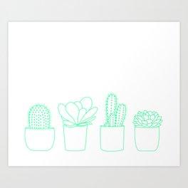 Succulents (Minty Palette) Art Print