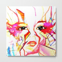 rainbow face oil reworked Metal Print