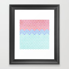 Chevron Blue and Red vintage Framed Art Print