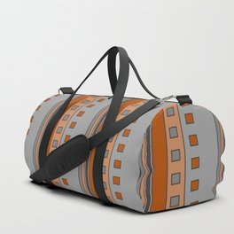 Squares and Stripes in Terracotta and Gray Duffle Bag