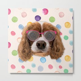 Dog with Pink Glasses Metal Print