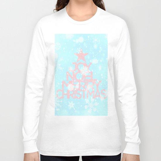 Joy,Noel,Merry Christmas and Star pattern - pink on aqua Long Sleeve T-shirt