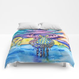 Whimsical Watercolor Moose Bath With Birds and Pines Comforters