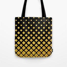 Art Deco Glitter-Gold Diamonds on Black Pattern Tote Bag