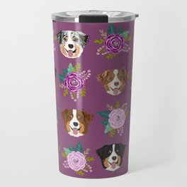 Australian Shepherd dog breed dog faces cute floral dog pattern Travel Mug
