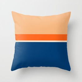 Lines Print Blue, Orange and Yellow Throw Pillow