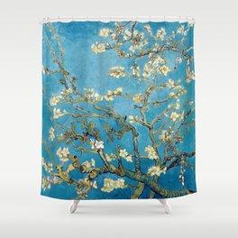 Almond Blossom Vincent Van Gogh Blue Shower Curtain