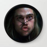 brad pitt Wall Clocks featuring Brad Pitt - 12 Monkeys - Monkey Wrench by Saint Genesis