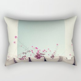 Pink flowers on the white rooftop Rectangular Pillow