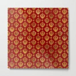 Khanda  and Ek Onkar pattern on red Metal Print
