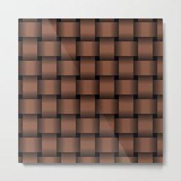 Large Dark Brown Weave Metal Print