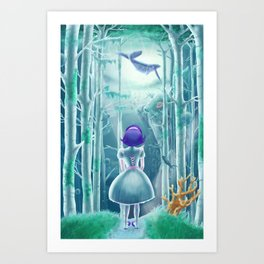 Girl under the sea Art Print