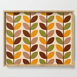 Retro 70s geometric leaves branches brown orange Serving Tray