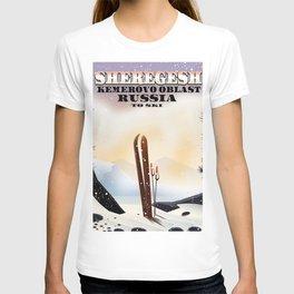 Sheregesh Russia Ski poster. T-shirt