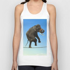 Elephant Walking on wire Unisex Tank Top