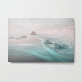 Dreamy Beach In Pink And Turquoise Metal Print