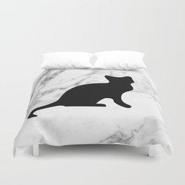 Marble black cat Duvet Cover