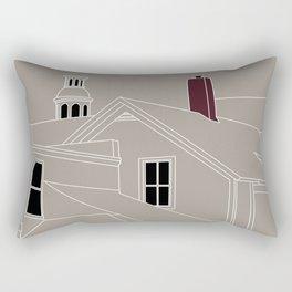 Cityscape Urban Illustration in Warm Grey Rectangular Pillow
