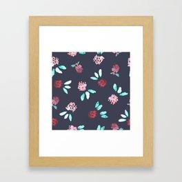 Clover Flowers Pattern on Grey Framed Art Print